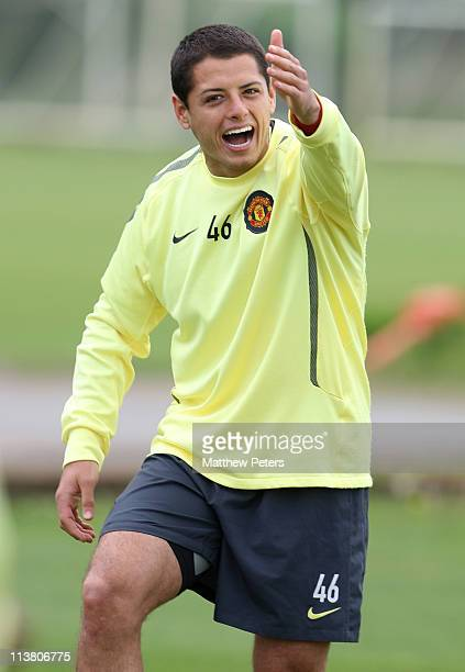 """Javier """"Chicharito"""" Hernandez of Manchester United in action during a first team training session at Carrington Training Ground on May 6, 2011 in..."""