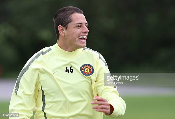 Javier Chicharito Hernandez of Manchester United in action during a first team training session ahead of their UEFA Champions League final match...