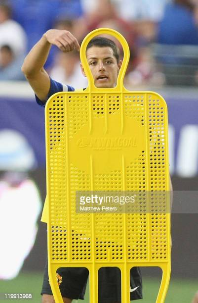 """Javier """"Chicharito"""" Hernandez of Manchester United in action during a first team training session ahead of their match against MLS AllStars as part..."""