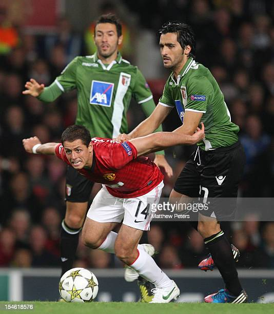 Javier Chicharito Hernandez of Manchester United in action with Custodio of SC Braga during the UEFA Champions League Group H match between...