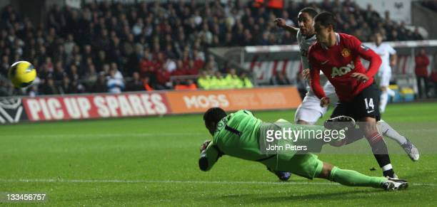 """Javier """"Chicharito"""" Hernandez of Manchester United scores their first goal during the Barclays Premier League match between Swansea City and..."""