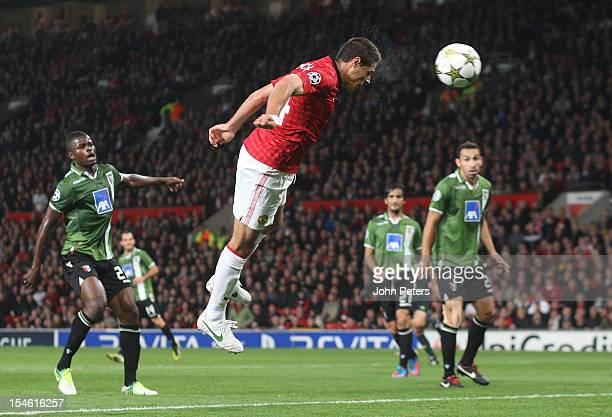Javier 'Chicharito' Hernandez of Manchester United scores their first goal during the UEFA Champions League Group H match between Manchester United...