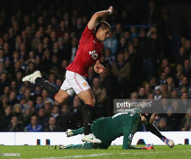 Javier 'Chicharito' Hernandez of Manchester United scores their second goal during the Capital One Cup Fourth Round match between Chelsea and...