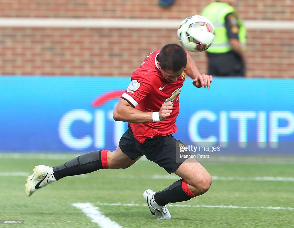 Javier 'Chicharito' Hernandez of Manchester United scores their third goal during the pre-season friendly match between Manchester United and Real Madrid at Michigan Stadium on August 2, 2014 in Ann Arbor, Michigan.