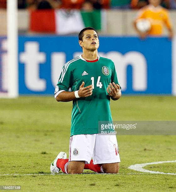 Javier Chicharito Hernandez of Mexico takes a moment before the start of the game against Guyana at BBVA Compass Stadium on October 12 2012 in...