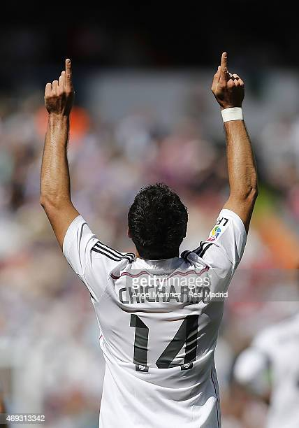 Javier 'Chicharito' Hernandez of Real Madrid celebrates after scoring his team's second goal during the La Liga match between Real Madrid CF and...