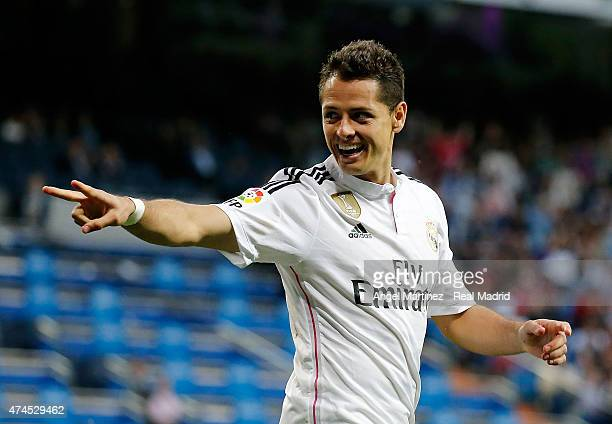 Javier 'Chicharito' Hernandez of Real Madrid celebrates after scoring his team's fourth goal during the La Liga match between Real Madrid CF and...