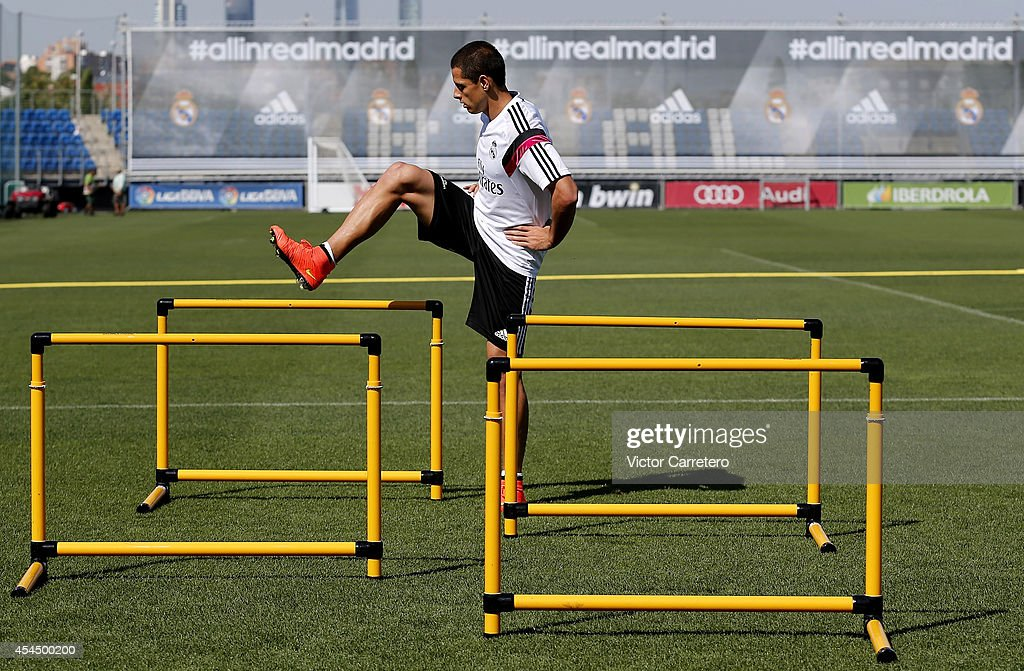 Javier 'Chicharito' Hernandez of Real Madrid exercises during a training session at Valdebebas training ground on September 2, 2014 in Madrid, Spain.