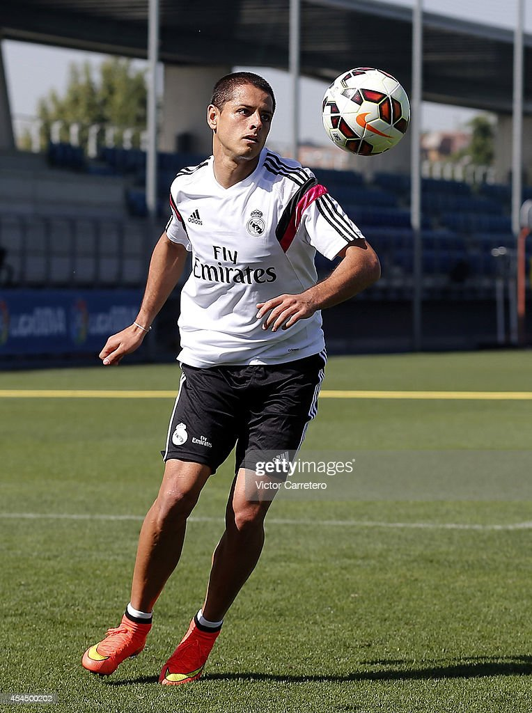 Javier 'Chicharito' Hernandez of Real Madrid in action during a training session at Valdebebas training ground on September 2, 2014 in Madrid, Spain.