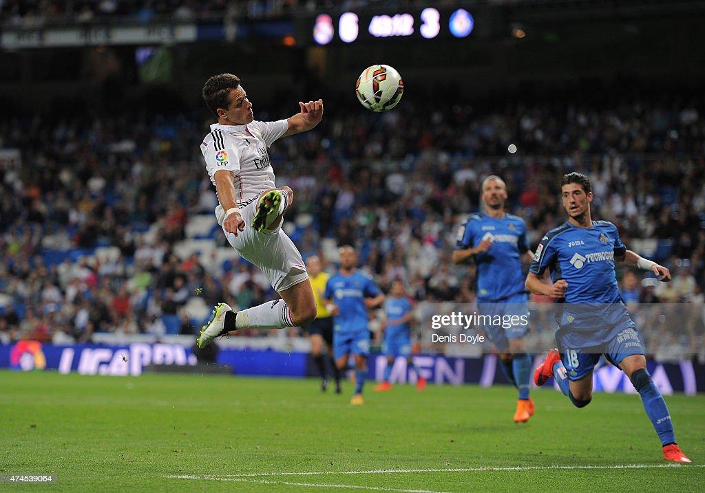 Javier 'Chicharito' Hernandez of Real Madrid in action during the La Liga match between Real Madrid CF and Getafe CF at Estadio Santiago Bernabeu on May 23, 2015 in Madrid, Spain.