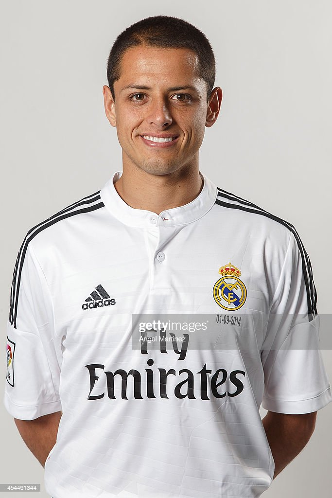 best loved 34a88 4e8fc Javier 'Chicharito' Hernandez of Real Madrid poses during a ...