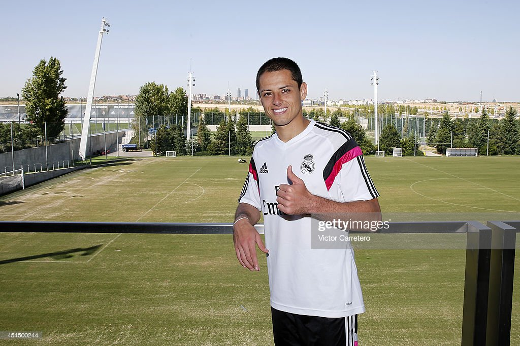 Javier 'Chicharito' Hernandez of Real Madrid poses during a training session at Valdebebas training ground on September 2, 2014 in Madrid, Spain.