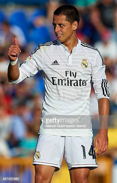 Javier 'Chicharito' Hernandez of Real Madrid reacts as he fails to score during the La Liga match between Levante UD and Real Madrid at Ciutat de...