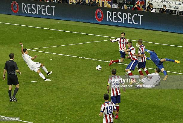 Javier 'Chicharito' Hernandez of Real Madrid scores the winning goal during the UEFA Champions League Quarter Final second leg match between Real...