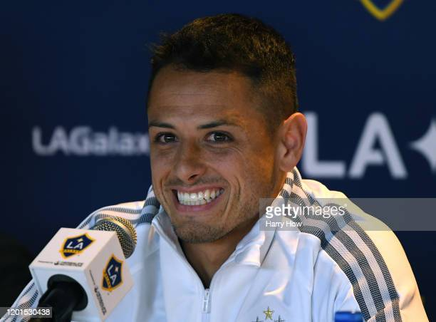 Javier Chicharito Hernandez poses reacts as he answers questions during a press conference at Dignity Health Sports Park on January 23 2020 in Carson...