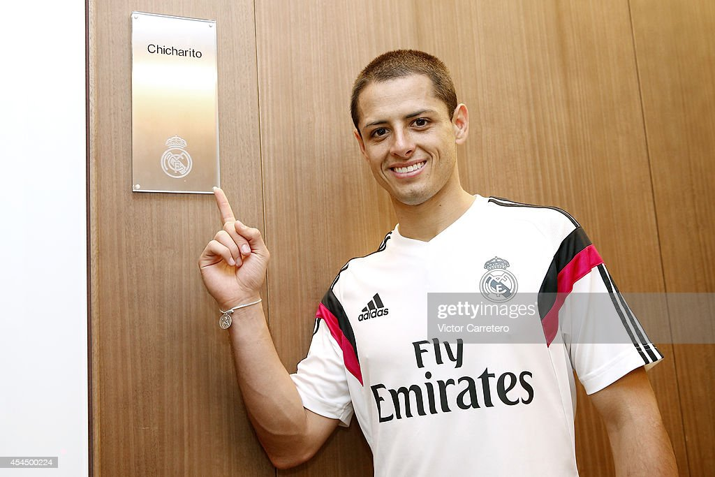 Javier 'Chicharito' Hernandez visits the Real Madrid sport facilities during a training session at Valdebebas training ground on September 2, 2014 in Madrid, Spain.