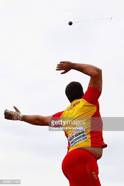 Javier Cienfuegos of Spain in action during the final of the mens hammer on day five of The 23rd European Athletics Championships at Olympic Stadium...
