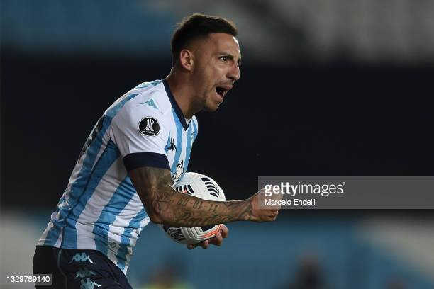 Javier Correa of Racing Club celebrates after scoring the first goal of his team during a round of sixteen second leg match between Racing Club and...
