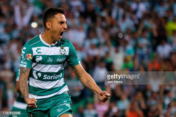 Javier Correa of Santos celebrates after scoring the third goal of his team during the 8th round match between Santos Laguna and Toluca as part of...