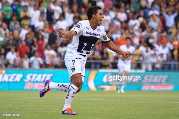 Javier Cortes of Pumas celebrates a goal scored Students Against DURING a match as part of the Opening 3 March 2011 at Stadium on September 24 2011...