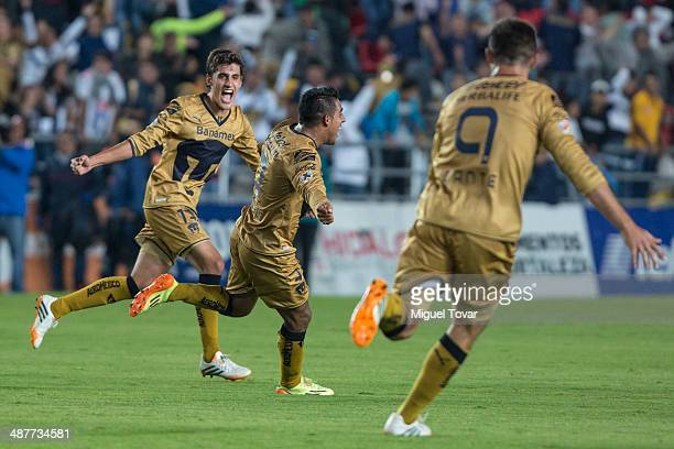 Javier Cortes of Pumas celebrates after scoring during the Quarterfinal first leg match between Pumas UNAM and Pachuca as part of the Clausura 2014...
