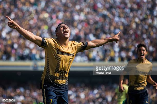 Javier Cortes of Pumas celebrates after scoring during the semifinals second leg match between Pumas UNAM and America as part of the Apertura 2015...