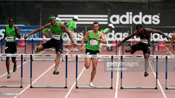 Javier Culson leads in the men's 400 meter hurdles at the Adidas Grand Prix on Randall's Island June 11 2011 in New York Culson won the event AFP...