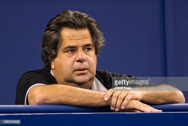 Javier Duarte, coach of Tommy Robredo, attends Robredo's match his match against Tomas Berdych of Czech Republic during day two of the 2010 Shanghai...