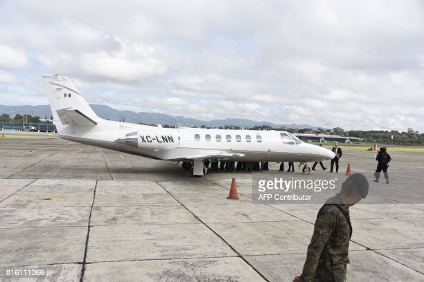 Javier Duarte former governor of the Mexican state of Veracruz board the aircraft to be extradited to Mexico in Guatemala City on July 17 2017 Duarte...