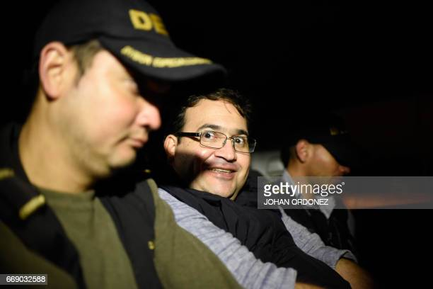 Javier Duarte former governor of the Mexican state of Veracruz is seen in an autopatrol following his arrest upon his arrival at the Matamoros...