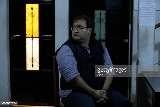 Javier Duarte the former governor of the Mexican state of Veracruz is seated after his arrest in Panajache municipality Solola departament Guatemala...
