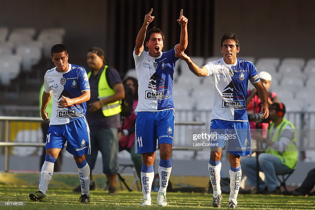 Javier Elizondo of Antofagasta, celebrates a scored goal during a match between Antofagasta and Universidad de Chile as part of the Torneo Transicion 2013 at Bicentenario Calvo y Bascunan stadium on April 28, 2013 in Santiago, Chile.