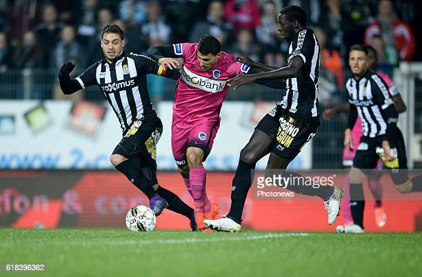 Javier Espigares Francisco Martos defender of Sporting Charleroi and Cristophe Diandy midfielder of Sporting Charleroi with Nikolaos Karelis forward...