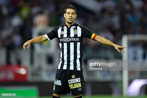 Javier Espigares Francisco Martos defender of Sporting Charleroi issues instructions to his teammates during the Jupiler Pro League match between...