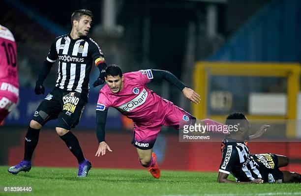 Javier Espigares Francisco Martos defender of Sporting Charleroi with Nikolaos Karelis forward of KRC Genk pictured during Jupiler Pro League match...