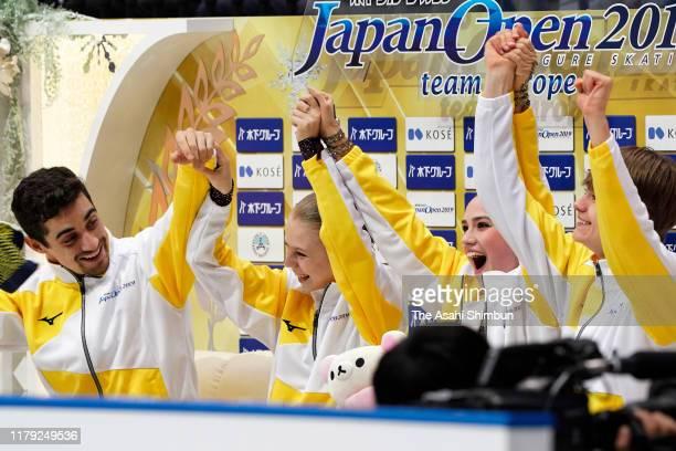 Javier Fernandez, Alexandra Trusova, Alina Zagitova and Deniss Vasiļjevs of Europe celebrate at the kiss and cry during the figure skating Japan Open...