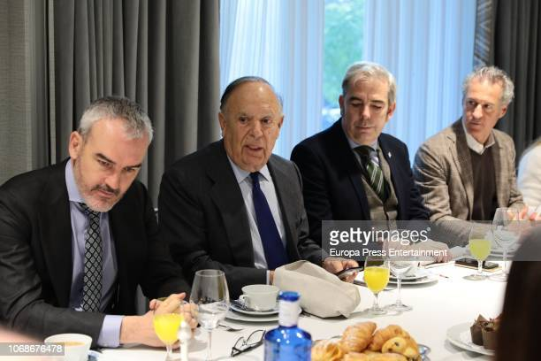 Javier Fernandez Andrino, Carlos Falco, guest and Moises Chocron attend the meeting of Circulo Fortuny at Heritage Madrid hotel on December 4, 2018...