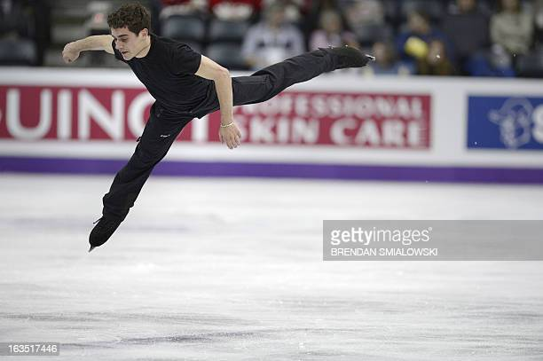 Javier Fernandez competing for Spain practices at Budweiser Gardens in preparation for the 2013 World Figure Skating Championships in London,...