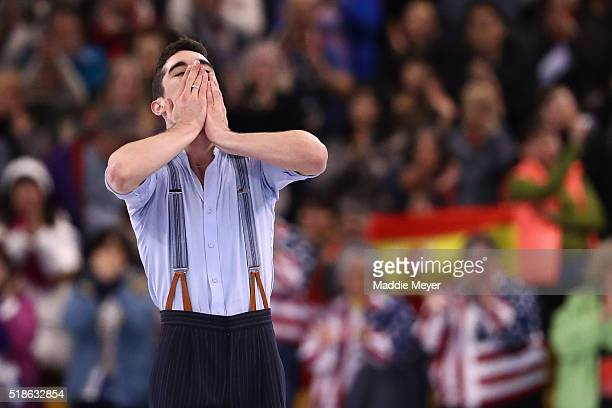 Javier Fernandez of Spain celebrates after completing his routine in the Men's Free Skate program during Day 5 of the ISU World Figure Skating...