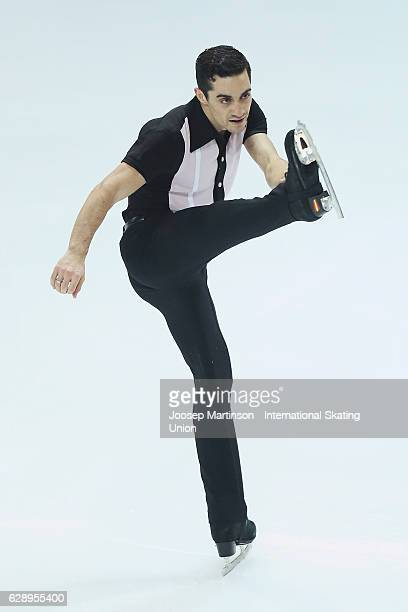 Javier Fernandez of Spain competes during Senior Men's Free Skating on day three of the ISU Junior and Senior Grand Prix of Figure Skating Final at...