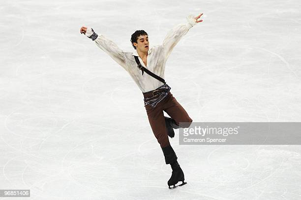 Javier Fernandez of Spain competes in the men's figure skating free skating on day 7 of the Vancouver 2010 Winter Olympics at the Pacific Coliseum on...