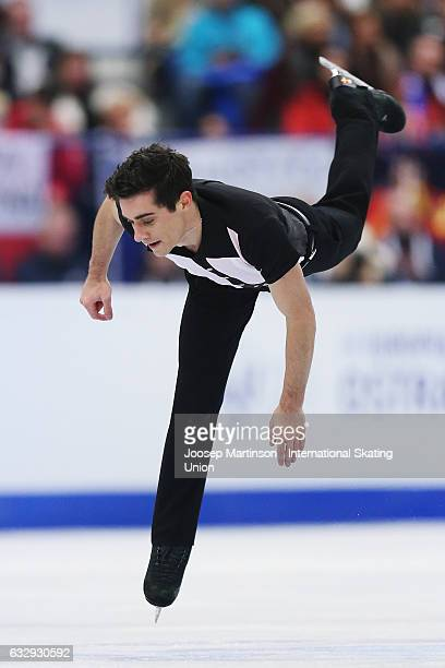 Javier Fernandez of Spain competes in the Men's Free Skating during day 4 of the European Figure Skating Championships at Ostravar Arena on January...