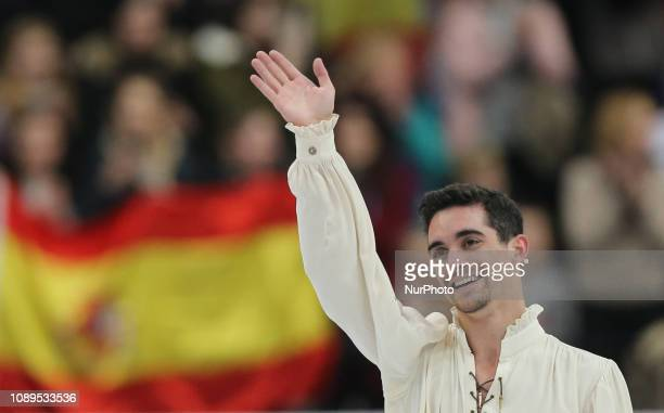 Javier Fernandez of Spain competes in the Men's Free Skating during day four of the ISU European Figure Skating Championships at Minsk Arena in Minsk...