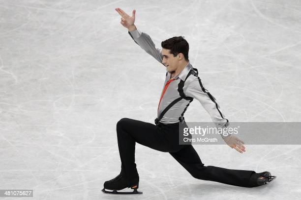 Javier Fernandez of Spain competes in the Men's Free Skating during ISU World Figure Skating Championships at Saitama Super Arena on March 28 2014 in...