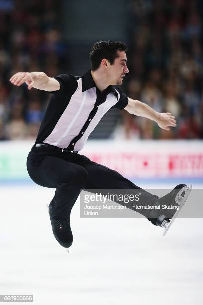 Javier Fernandez of Spain competes in the Men's Free Skating during day four of the World Figure Skating Championships at Hartwall Arena on April 1...