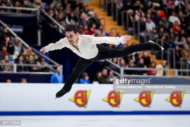 Javier Fernandez of Spain competes in the Men's Free Skating during day three of the European Figure Skating Championships at Megasport Arena on...
