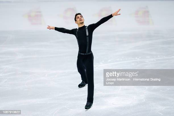 Javier Fernandez of Spain competes in the Men's Short Program during day two of the ISU European Figure Skating Championships at Minsk Arena on...