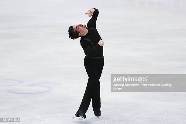 Javier Fernandez of Spain competes in the Men's Short Program during day 3 of the European Figure Skating Championships at Ostravar Arena on January...