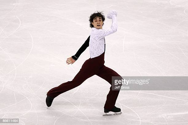 Javier Fernandez of Spain competes in the Men's Short Program during the 2009 ISU World Figure Skating Championships at Staples Center March 25 2009...