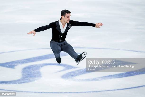 Javier Fernandez of Spain competes in the Men's Short Program during day one of the European Figure Skating Championships at Megasport Arena on...